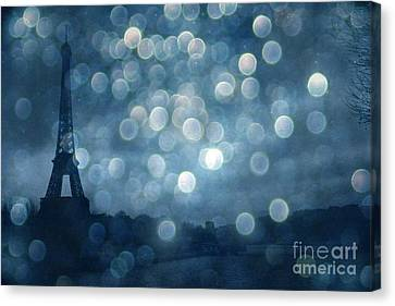 Paris Surreal Eiffel Tower Sapphire Blue Starry Night - Eiffel Tower Blue Stars Bokeh Night Sky  Canvas Print by Kathy Fornal