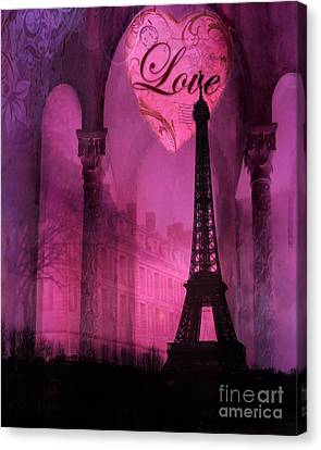 Paris Surreal Pink Fantasy Paris Eiffel Tower Architecture Montage - Love Heart Paris  Canvas Print by Kathy Fornal