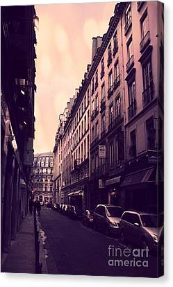 Paris Surreal Street Photography - Dreamy Paris Street Scene With Pink Sky Sunset  Canvas Print by Kathy Fornal