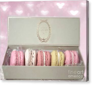 Paris - The Laduree Tea Shop And Patisserie - Dreamy Laduree Box Of French Macarons  Canvas Print by Kathy Fornal