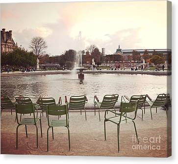 Paris Tuileries Garden Park Fountain Green Chairs - Paris Autumn Fall Tuileries - Autumn In Paris Canvas Print by Kathy Fornal
