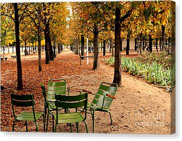 Paris Tuileries Gardens And Trees - Jardin Des Tuileries Gardens Parks Autumn - Paris Fall Autumn Canvas Print by Kathy Fornal