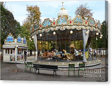 Paris Tuileries Park Carousel - Dreamy Paris Carousel - Paris Merry-go-round Carousel - Tuileries Canvas Print by Kathy Fornal
