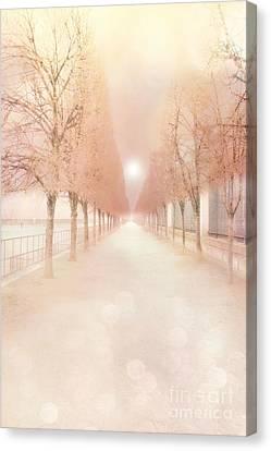 Paris Tuileries Row Of Trees - Paris Jardin Des Tuileries Dreamy Park Landscape  Canvas Print by Kathy Fornal