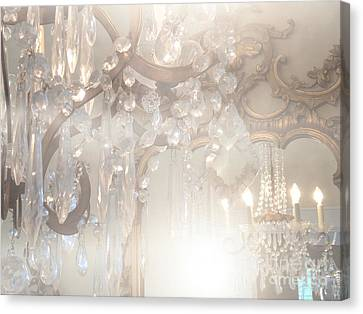 Paris Dreamy White Gold Ghostly Crystal Chandelier Mirrored Reflection - Paris Crystal Chandeliers Canvas Print by Kathy Fornal
