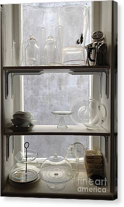 Paris Windows Kitchen Architecture - Paris Vintage Kitchen Window Ethereal Frosted Glass And Dishes Canvas Print by Kathy Fornal