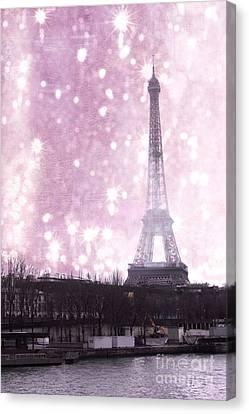 Paris Winter Eiffel Tower - Dreamy Surreal Paris In Pink Eiffel Tower Snow Winter Landscape Canvas Print by Kathy Fornal