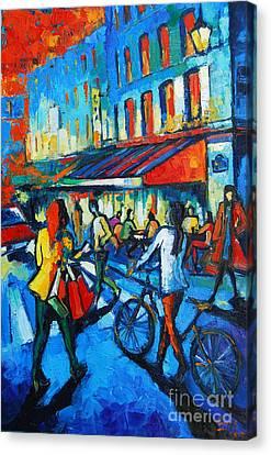 Parisian Cafe Canvas Print by Mona Edulesco