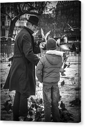 Parisian Father And Son Canvas Print by Kaleidoscopik Photography