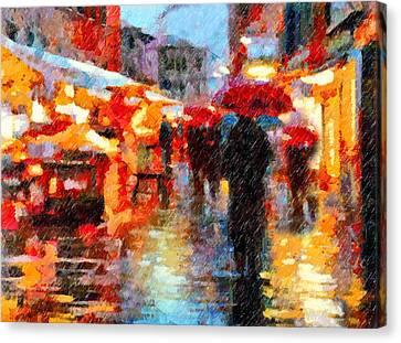 Parisian Rain Walk Abstract Realism Canvas Print by Georgiana Romanovna