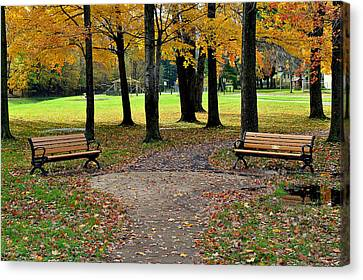 Park Bench Canvas Print by Frozen in Time Fine Art Photography