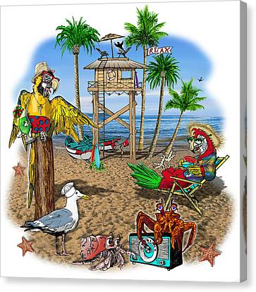 Parrot Beach Party Canvas Print by Doug LaRue