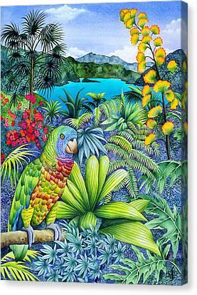 Parrot Fashion Canvas Print by Carolyn Steele
