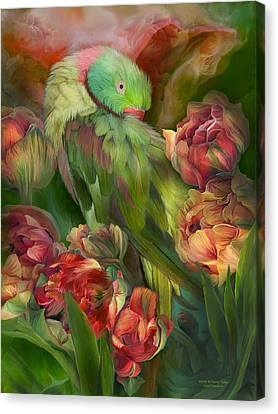 Parrot In Parrot Tulips Canvas Print by Carol Cavalaris
