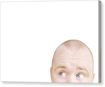 Part Of A Mans Head Looking Sideways Canvas Print by Chris and Kate Knorr