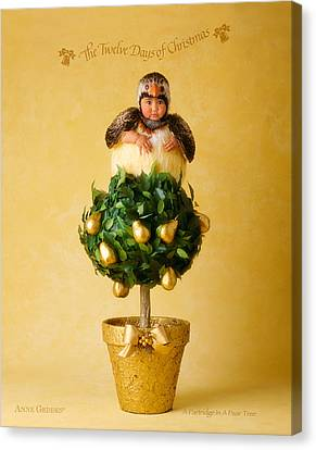 Partridge In A Pear Tree Canvas Print by Anne Geddes