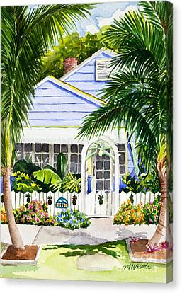 Pass-a-grille Cottage Watercolor Canvas Print by Michelle Wiarda