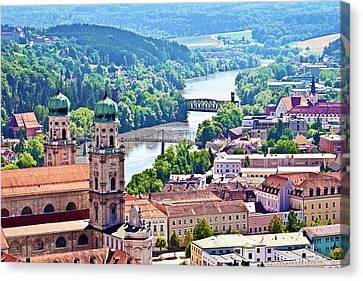 Passau, Bavaria, Germany, Aerial View Canvas Print by Miva Stock