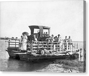 Passengers On A Ferry Canvas Print by Underwood Archives