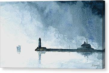 Passing Storm - Duluth Harbor Canvas Print by William Beaupre