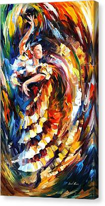 Passionate Flamenco - Palette Knife Figure Oil Painting On Canvas By Leonid Afremov Canvas Print by Leonid Afremov