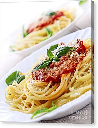 Pasta And Tomato Sauce Canvas Print by Elena Elisseeva