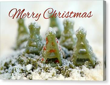 Pasta Christmas Trees With Text Canvas Print by Iris Richardson