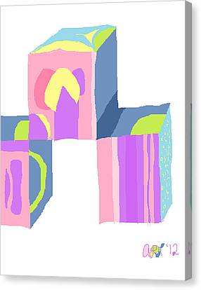 Pastel Cubes Canvas Print by Anita Dale Livaditis