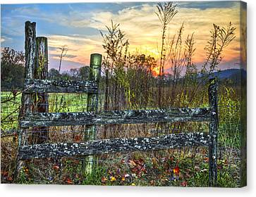 Pasture Fence Canvas Print by Debra and Dave Vanderlaan
