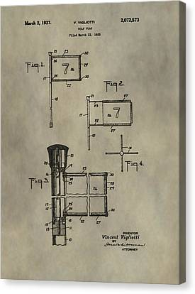 Patent Art Golf Flag Canvas Print by Dan Sproul