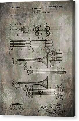 Patent Art Trombone Canvas Print by Dan Sproul