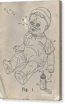 Patent For Crying Baby Doll Canvas Print by Edward Fielding