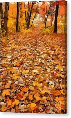 Path Of Fallen Leaves Canvas Print by Edward Fielding