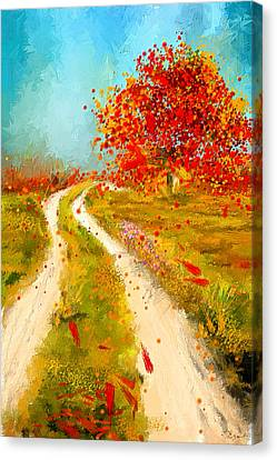 Path To Change- Autumn Impressionist Painting Canvas Print by Lourry Legarde