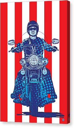 Patriotic Cycle Rider Canvas Print by Gary Grayson