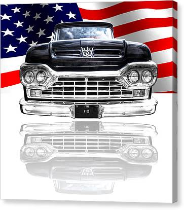 Patriotic Ford F100 1960 Canvas Print by Gill Billington
