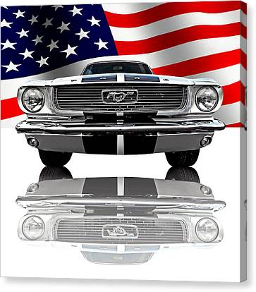 Patriotic Ford Mustang 1966 Canvas Print by Gill Billington