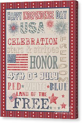 Patriotic Typography-b Canvas Print by Jean Plout