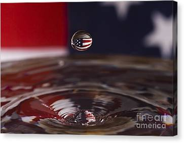 Patriotic Water Drop Canvas Print by Anthony Sacco