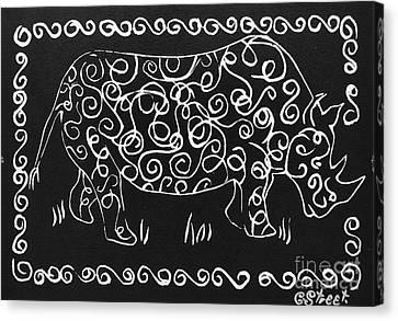 Patterned Rhino Canvas Print by Caroline Street