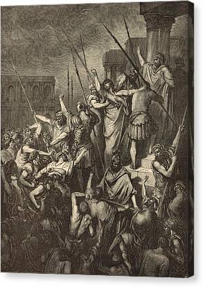 Paul Menaced By The Jews Canvas Print by Antique Engravings