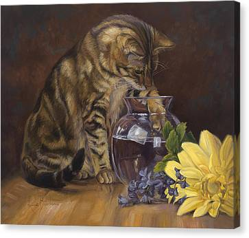 Paw In The Vase Canvas Print by Lucie Bilodeau