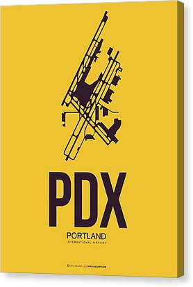 Pdx Portland Airport Poster 3 Canvas Print by Naxart Studio