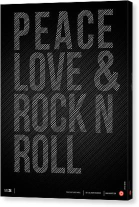 Peace Love And Rock N Roll Poster Canvas Print by Naxart Studio