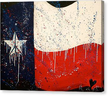 Peace Love And Texas Canvas Print by Debi Starr