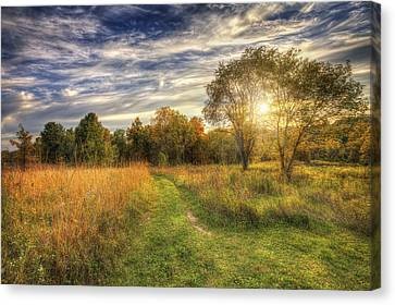 Peace On The Prairie - Fall Sunset At Retzer Nature Center In Waukesha Wisconsin Canvas Print by The  Vault - Jennifer Rondinelli Reilly