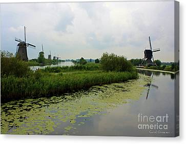 Peaceful Kinderdijk Canvas Print by Carol Groenen