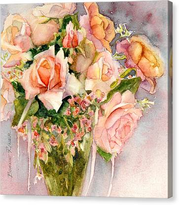 Peach Roses In Vase Canvas Print by Bonnie Rinier