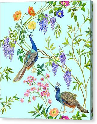 Peacock Chinoiserie Surface Fabric Design Canvas Print by Kimberly McSparran