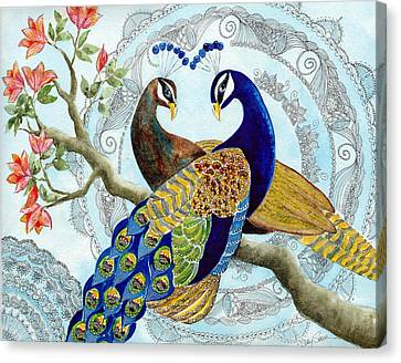 Peacock Love Canvas Print by Susy Soulies